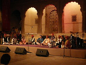 Music of India - Group of Dharohar folk musicians performing in Mehrangarh Fort, Jodhpur.