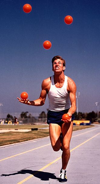 Joggling - Guinness World Record-holder Owen Morse joggling during a training session at University of California, Irvine, in 1988