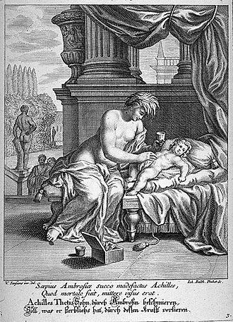 Ambrosia - Thetis anoints Achilles with ambrosia, by Johann Balthasar Probst (1673–1748)