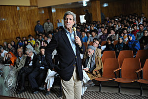 Mazar-i-Sharif - U.S. Senator John Kerry at Balkh University in May 2011.