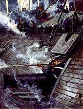 pentraĵon de la havenkanonado de la USS-Galeno, kie John Mackie lanĉas sian musketon de kanonluko