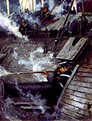 Battle of Drewry's Bluff - Cpl John F. Mackie firing from the USS Galena