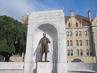 "John Mitchell (United Mine Workers) - ""Champion of Labor, Defender of Human Rights"": John Mitchell statue on back side of Lackawanna County Courthouse in Scranton, Pennsylvania"