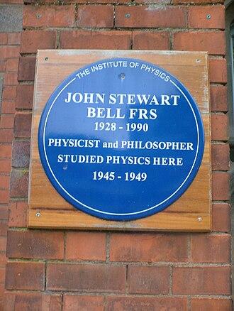 John Stewart Bell - Blue plaque honouring John Bell at the Queen's University of Belfast