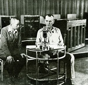 Jonathan M. Wainwright (general) - Wainwright ordering the surrender of the Philippines and watched by a Japanese censor