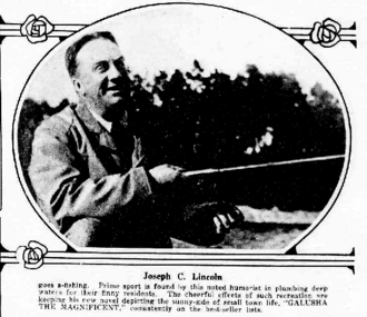 Joseph C. Lincoln - Newspaper photo of Lincoln fishing.