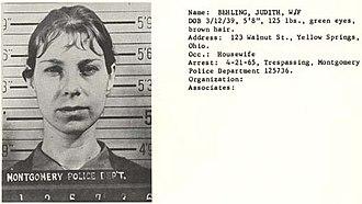 Jude Milhon - Jude's mugshot from her civil rights days.