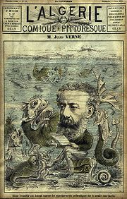 Jules Verne in front of creatures from his novels and stories.