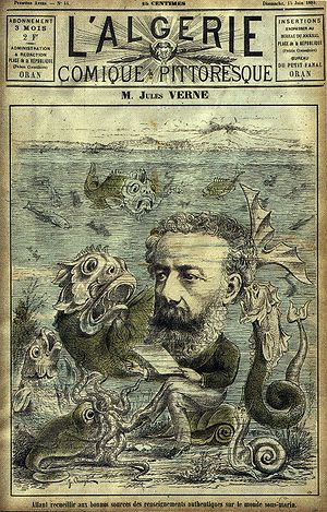 Jules Verne in front of creatures from his nov...