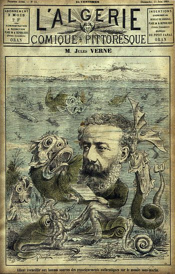 Cartoon Jules Verne on the sea floor with fant...