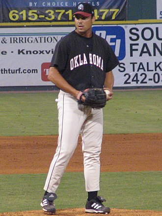 Justin Thompson (baseball) - Thompson pitching for the Oklahoma RedHawks in 2005
