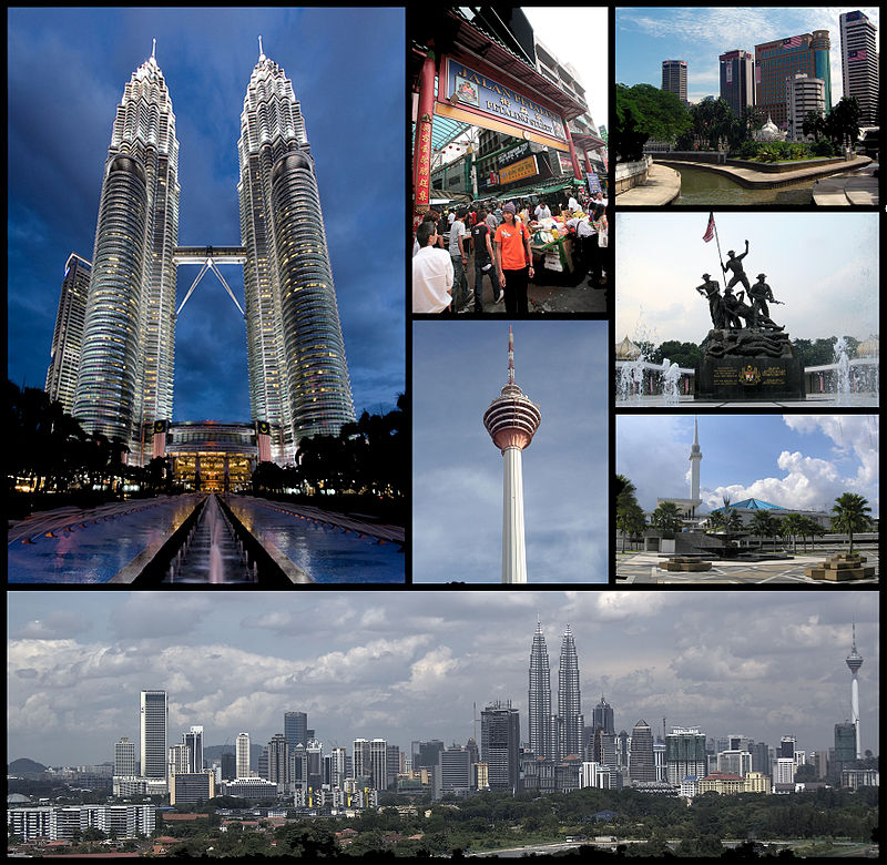 Clockwise from top left: Petronas Towers, Petaling Street, Jamek Mosque and Gombak/Klang River confluence, National Monument, National Mosque, skyline of Kuala Lumpur. Centre: Kuala Lumpur Tower