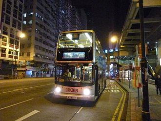 Night service (public transport) - A night bus operated by Kowloon Motor Bus in Hong Kong
