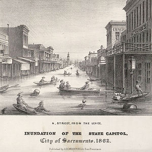Great Flood of 1862 - Lithograph of K Street in the city of Sacramento, California, during the Great Flood of 1862