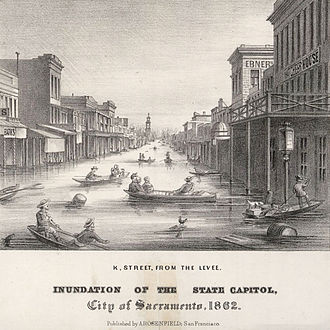 Great Flood of 1862 - Image: K Street, Inundation of the State Capitol, City of Sacramento, 1862