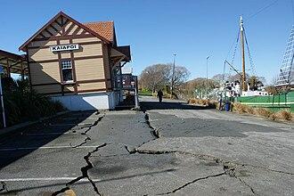 Kaiapoi - Kaiapoi railway station after the September 2010 Canterbury earthquake