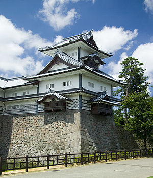 Kanazawa Castle - Kanazawa Castle showing the Hashizume-mon Tsuzuki Yagura watchtower, Hashizume-ichi-no-mon Gate, and moat.
