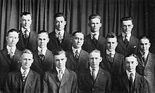 The first known picture of members of Kappa Kappa Psi, showing nine of the ten founders.