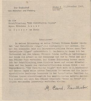 Der Pilger - Centenary congratulations from cardinal Michael von Faulhaber, 1950