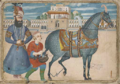 Karim Khan beside a son and his horse.png