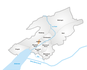 Lage der Altstadt in Biel