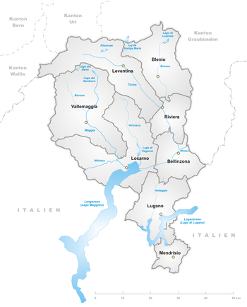Map of Ticino districts.