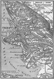 Austrian map of Trieste, 1888.