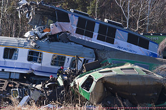 Szczekociny rail crash - The incident resulting in carriages derailing and telescoping