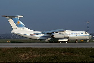 Kazakhstan Airlines - A Kazakhstan Airlines Ilyushin Il-76 in 1994.  This aircraft was later destroyed in the Charkhi Dadri mid-air collision.