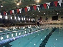 The Olympic-size swimming pool inside Keating Natatorium
