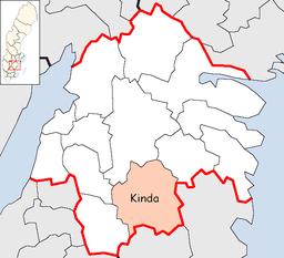 Kinda kommunes beliggenhed i Østerrøvlandes amter