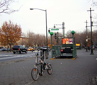 Kingston Avenue (IRT Eastern Parkway Line) - Entrance on south mall of Eastern Parkway