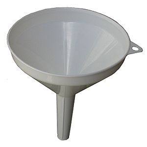 This is a plastic kitchen funnel.