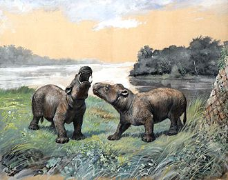 Paleontology in New Mexico - Coryphodon restoration by Charles R. Knight.