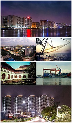 Clockwise from top: Marine Drive Skyline, Chinese Fishing Nets at Fort Kochi, Cochin Shipyard, Queen's Way, Hill Palace, InfoPark