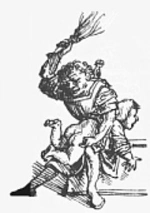 Child discipline - Medieval schoolboy birched on the bare buttocks