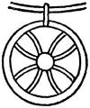 Kors, Solsymbol på assyrisk stenskulptur, Nordisk familjebok.png