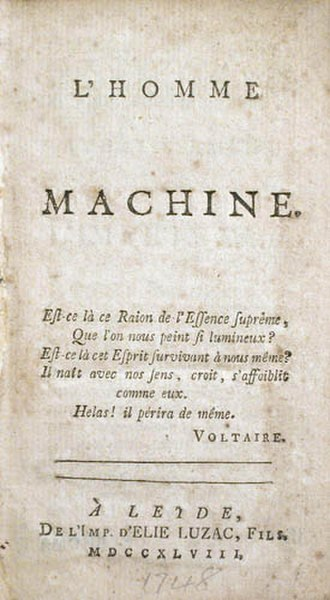 Man a Machine - Title page of a 1748 French edition.