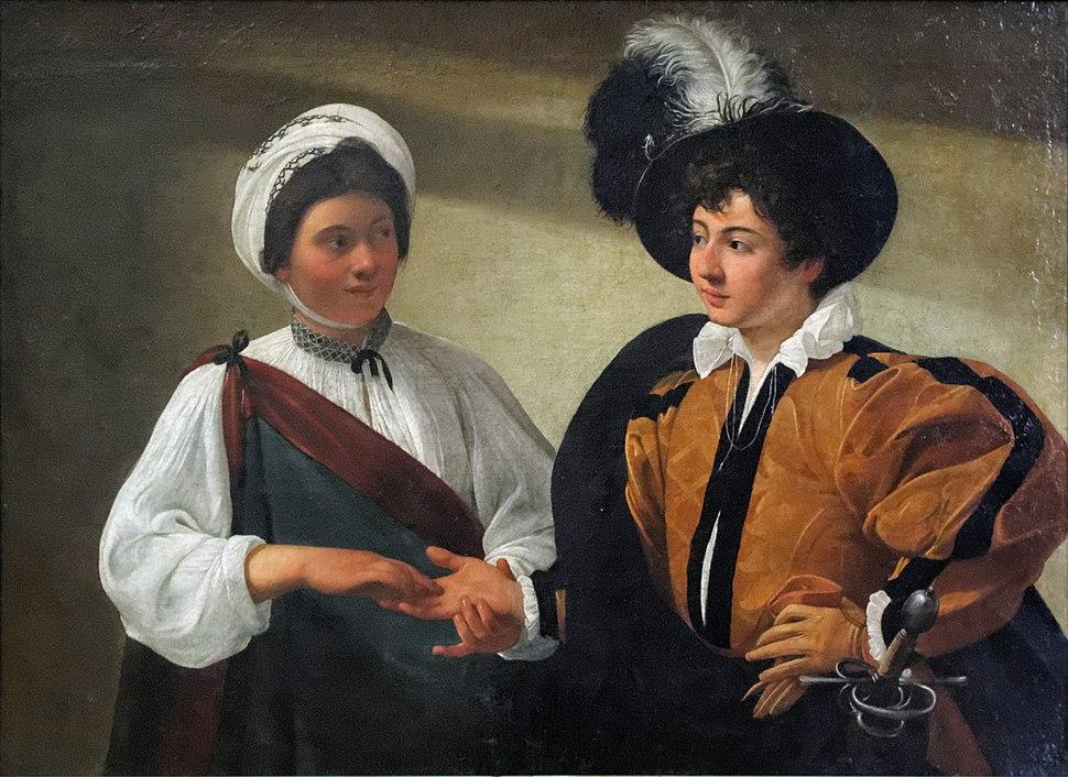 La Diseuse de bonne aventure, Caravaggio (Louvre INV 55) 02