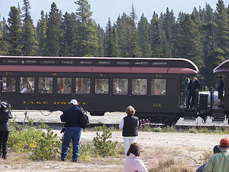 Lake Drury train car on W. P. & Y. R. near Klondike Highway, British Columbia.jpg