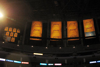 Los Angeles Lakers - Championship banners, Lakers retired jerseys, and honored Minneapolis Lakers banner hanging in the rafters of Staples Center