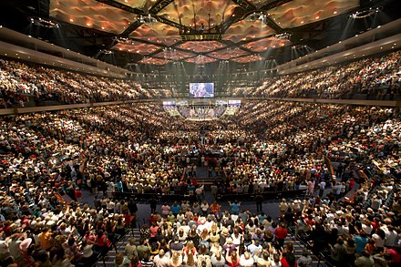 A worship service at Lakewood Church, Houston, Texas, in 2013 Lakewood worship.jpg