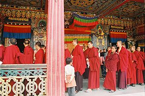 Tibetan Monasticism - Tibetan Buddhist monks at Rumtek Monastery in Sikkim