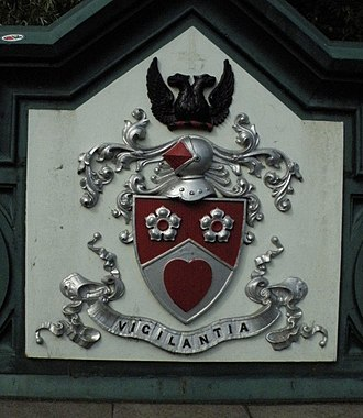Lanarkshire - Lanarkshire's arms, as seen on the Great Western Bridge in Glasgow.
