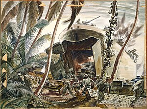 Battle of the Treasury Islands - Landing ships under fire, Treasury Island (3rd NZ Division), 27 October 1943 painted by Russell Clark