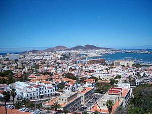 Panoramic view over the city of Las Palmas de ...