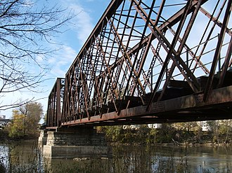 Lattice truss bridge - Railroad bridge across the Iowa River in Iowa City, Iowa.