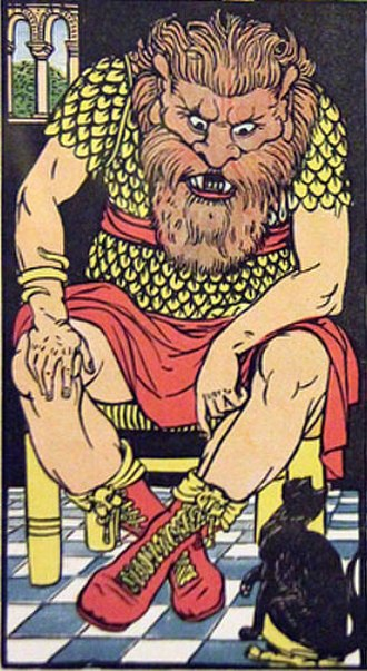 Ogre - Puss in Boots before the ogre (illustrated by Walter Crane).