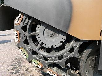 Sprocket - Tread drive sprocket of the Leclerc main battle tank (2006).