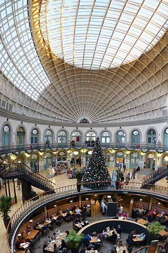Leeds Corn Exchange - View from the balcony, of the east end of the interior in November 2010